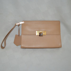 Balenciaga Tan Leather Wrist Strap Wristlet Clutch